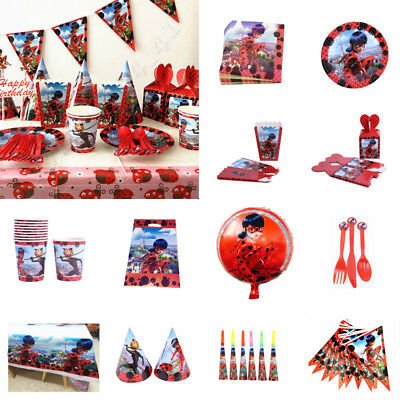 136pcs Miraculous Ladybug Birthday Party Tableware Supplies Girls Kids  Decor
