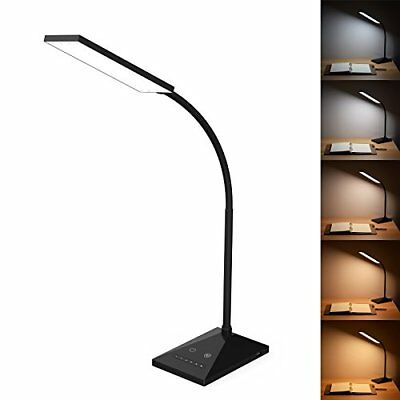 LED Desk Lamp Eye-caring Table Lamps 5 Color Modes Touch Control Sensitive Black