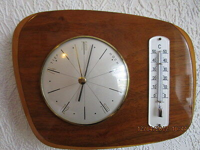 Altes Barometer, Thermometer in Echtholz. Dt. Fabrikat. Kirschbaum hell poliert