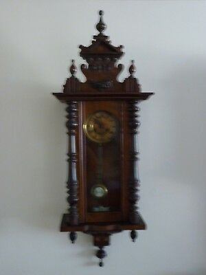 Antique Vienna Wall Clock.  Good Working Order.