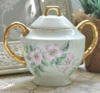 Vintage Shabby Chic Floral Sugar Bowl 60's