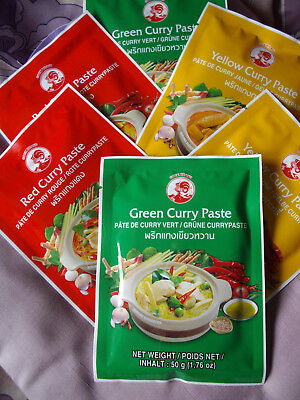 6 Pak. Curry Paste,Thailand, à 50g (2xrot,2xgrün,2xgelb) Red/Green/Yellow Paste