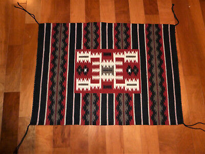 Finest Quality Crystal Navajo Storm Pattern Rug w/in a Rug by Betty Tsosie-26x35