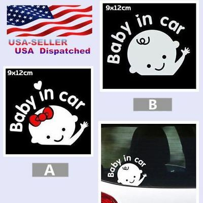 Baby in Car waving boy&girl Safety Sign 3M Reflective Window Vinyl Decal Sticker