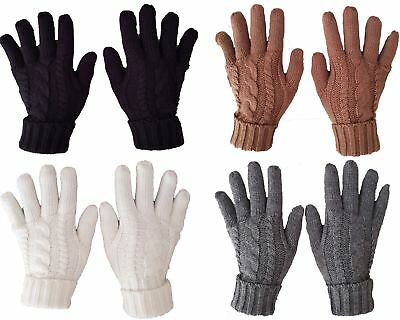 Bnwt Ladies Cable Knit Fleece Lined Warm Winter Gloves Black Grey Cream