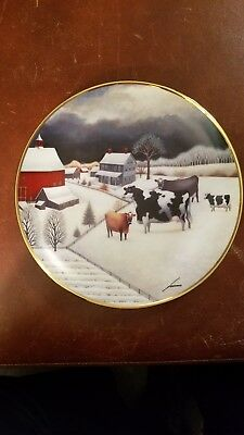 "American Folk Art Collection ""Cows in Winter"" by the Franklin Mint"