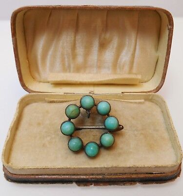 Small Old Turquoise Conical Peking Glass Stone Circular Brooch Unusual Clasp