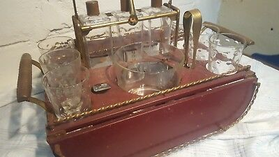 Vintage Table Top Bar Art-Deco 3 Decanters Ice Bucket 6 Glass Set  MAD MEN