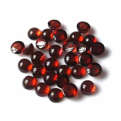 25 Pieces Lot A Quality Natural Garnet 4X4 Mm Round Loose Cabochon Gemstone-T
