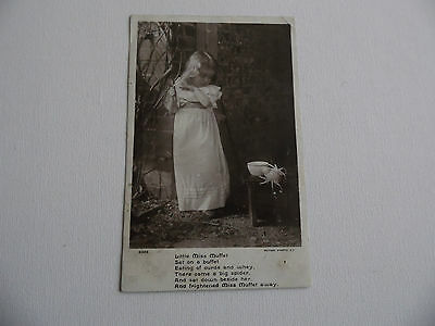 Little Miss Moffet with small verse - Vintage - Postcard