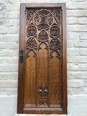 Impressive Large French Gothic Door panel in wood circa 1900 (1)