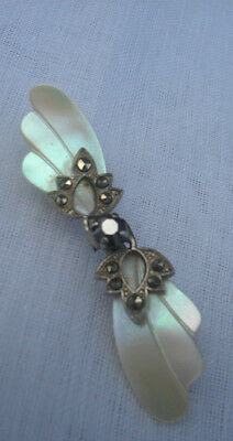 Vintage Mother of Pearl 7 Marcasite Brooch Central Black Stone 1940's Used