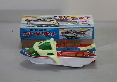 Vintage 1970's Tin Toy Speed Boat Friction Wind up Toy , Yonezawa Made in Japan