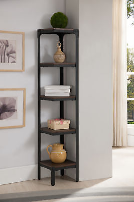 Kings Brand Furniture 5 Tier Antique Finish Corner Bookshelf Bookcase