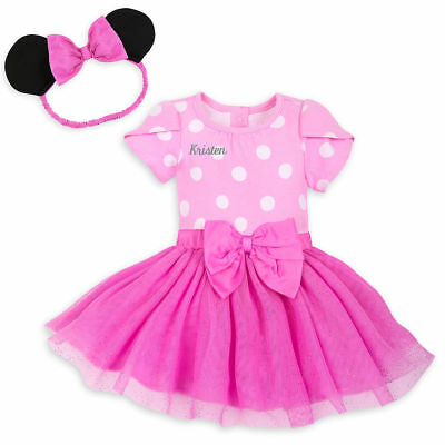 NWT Disney Store Minnie Mouse Bodysuit Costume & Ears SET Pink Baby