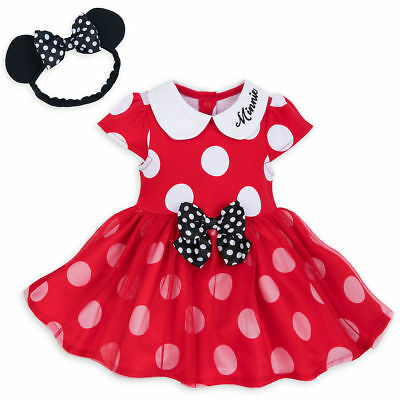 NWT Disney Store Minnie Mouse Red Baby Bodysuit Costume & 3D Ears Headband SET