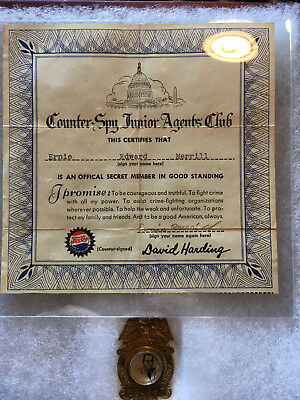 Counter-Spy Junior Agents Club Pepsi, vintage badge and certificate