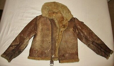 Distressed Ww2 Raf Irvin? Leather Flying Jacket Battle Of Britain