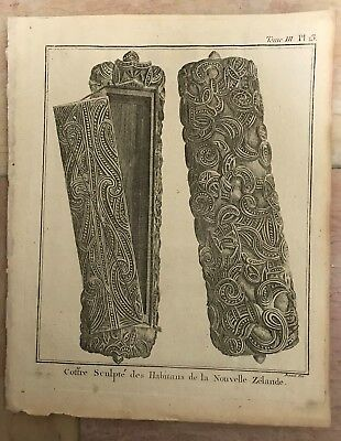 NEW ZEALAND CRAFTS 1774 JAMES COOK 18e CENTURY ANTIQUE COPPER ENGRAVED PLATE
