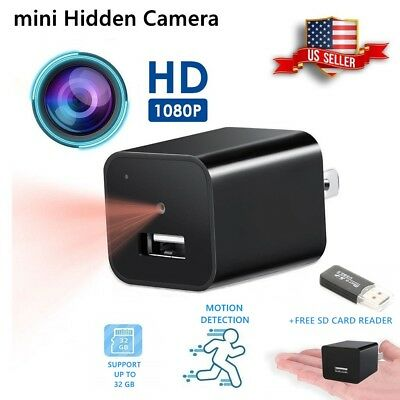 Spy Camera Mini Hidden Wall Charger Small USB Adapter  HD 1080P Motion  32GB