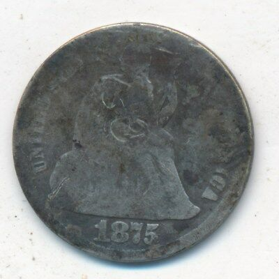 1875-Cc Seated Liberty Silver Dime-Cc Above Bow-Nice Circulated Dime-Ships Free!