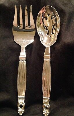 Wallace Silver plate Salad Serving Set Serving Fork & Slotted Spoon Acorn Style