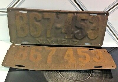 VINTAGE Antique 102 yrs old 1917 New York yellow License plate set
