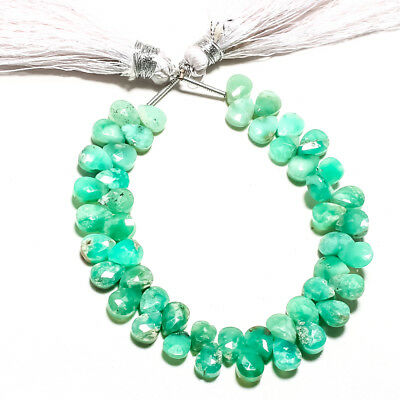 """Faceted Chrysoprace Natural Gemstone Almonds Shape 48Ct Strand 7 """""""
