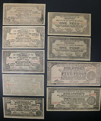 Philippines WW2 Bohol Emergency Certificate Large Lot of Many Denominations
