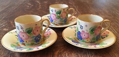 Art Deco Susie Cooper/ Grays Pottery - 3 Cups & Saucers- 8069- Free P&P