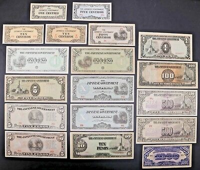 Philippines WW2 The Japanese Government Pesos Large Lot of Many Denominations