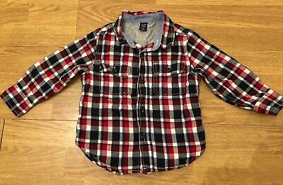 Toddler Boy's Red And Navy Checked Shirt By The Gap Age 2 Years VGC