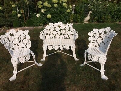 Gorgeous, Ornate, Victorian Cast Iron Garden Set, 3 Matched Pieces, Rare Find!