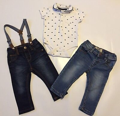Next Baby boy clothes bundle 6-9 M.Brace Navy Jeans , Blue Jeans And Bodytop.