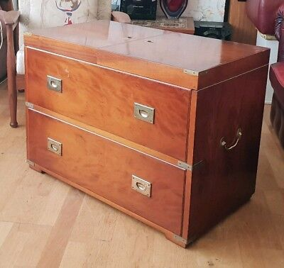 Antique Military Campaign Chest Bottle Bar Trunk Storage. Portable Cocktail Box
