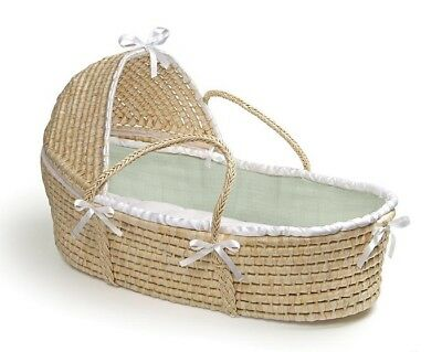 Sage Waffle Natural Baby Infant Newborn Moses Basket w/ Hood & Bedding NEW