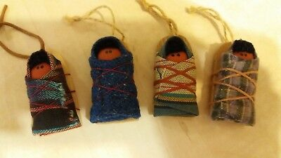 Set of 4 HOPI Papoose Doll CHRISTMAS  ORNAMENT  Native American