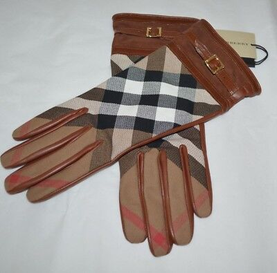 Burberry Saddle Brown House Check Nicola Touch Gloves Size 7