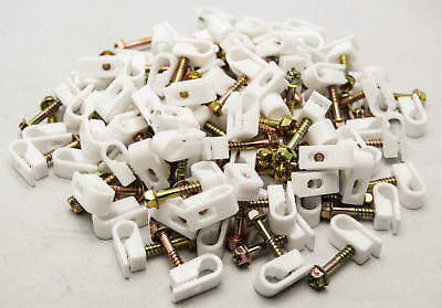 2000 Pieces White Single Grip Clips Strain Relief Screw RG6 RG59 Cat6 Coax Cable