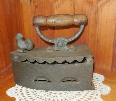 Vintage  Cast Iron Coal Iron With Wooden Handle & Rooster  Latch Home Decor