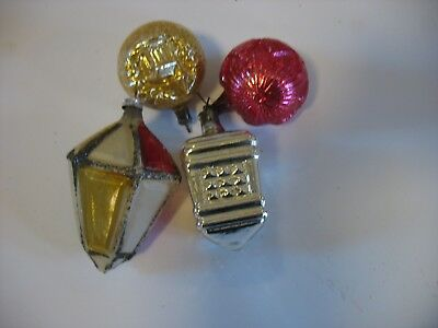 4 Early Christmas ornaments West Germany Gold church Lantern