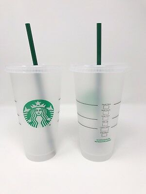 STARBUCKS Reusable Frosted Plastic Venti Cold Cup 24 Oz. Reusable Green Straw!