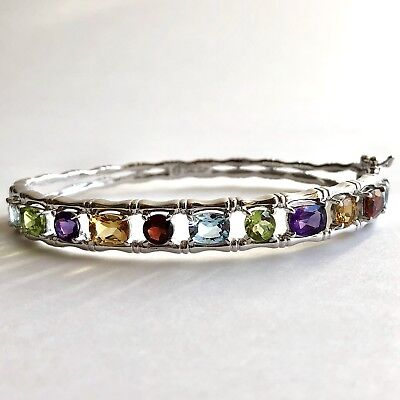 Arthur Court Hinged Bangle Bracelet Multi Stone 925 Sterling Silver Rhodium 7.5
