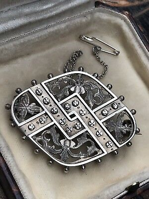 Antique Victorian Gothic Sterling Silver Embossed /pierced Work Brooch/pin