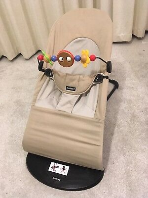 Baby Bjorn beige bouncer chair plus wooden Toy Bar great condition