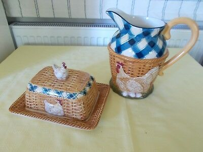 pottery jug and butter cheese dish in matching design chicken