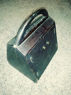 "Antique Wooden Sewing Box ""A"" Frame Shaped 2 Sided w/ Double Doors & Contents"