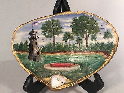 Wonderful Antique Folk Art Painted Clam Shell with Diorama and Lighthouse