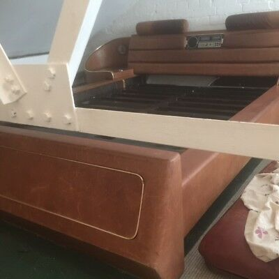 vintage mid century double bed German real leather with floating side tables