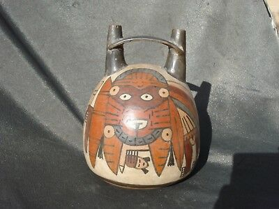 Pre Columbian Nazca Nasca Pottery Mythical  Stirrup Vessel 600 BC Peru Antique
